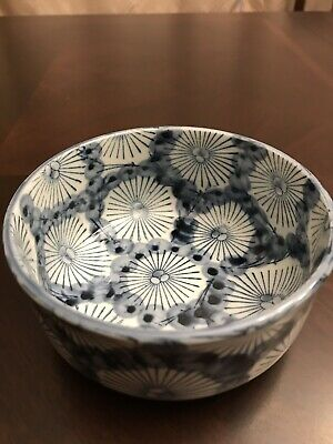 Antique Japanese Blue and White Noodle Bowl with Lid Kutani Ware - Rare Pattern
