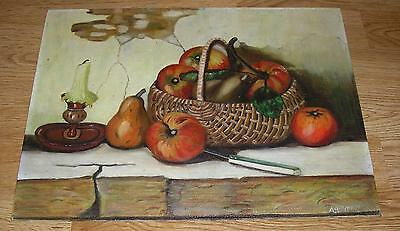 Vintage Country Charm Heirloom Apples Wicker Basket Pear Candle Knife Painting