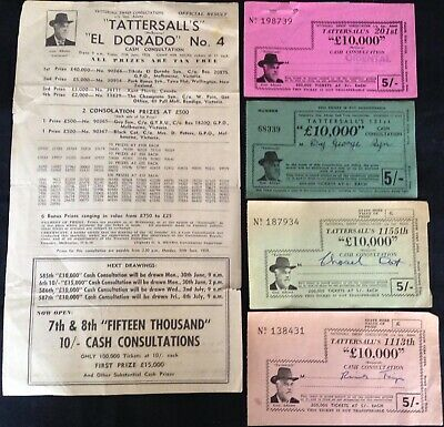 EPHEMERA - VINTAGE TATTERSALL'S LOTTERY TICKETS x 4. AND A RESULTS SHEET
