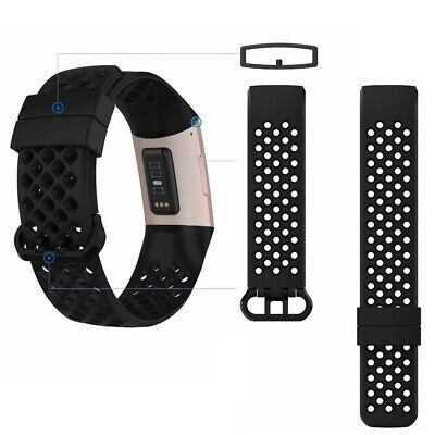 2 Pack Replacement Wristband For Fitbit Charge 3 Band TPU Fitness With Air Holes