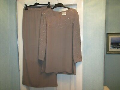 Size 12 Taupe Skirt & top by FRANK USHER