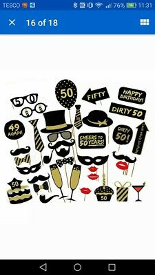 36pcs Birthday Party Photo Booth Props Party Decor Selfie 50th