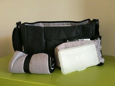 OiOi Nappy Bag in black with change mat and accessories