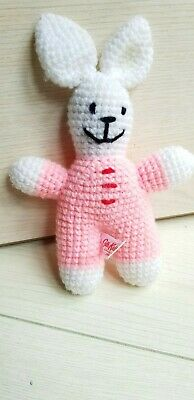 """Cath Kidston - Cath Kids - Pink & White Knitted Bunny Rabbit - 7"""" Soft Toy"""