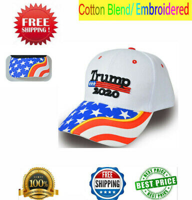 Donald Trump 2020 MAGA White Embroidered Hat Keep Make America Great Cap Well