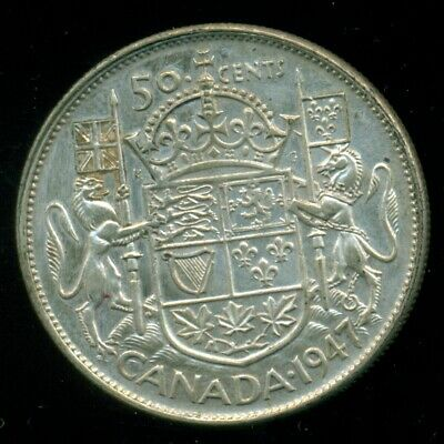 1947 C7R King George VI, Silver Fifty Cent Piece   O44