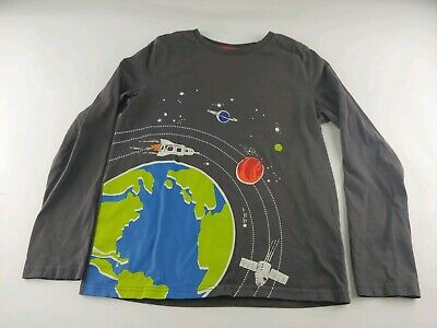 Boys Mini Boden Gray Long Sleeve Shirt Space with Earth Print 11-12Y 152