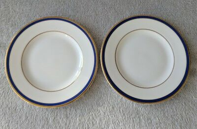 Pair of Minton Saturn Royal Doulton Plates Small Side Dish Plates Blue Gold New