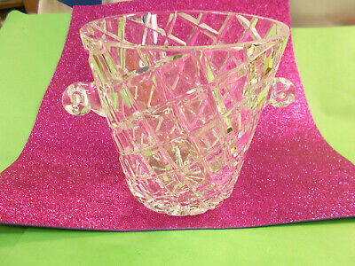 Stunning Crystal Ice Bucket / Champagne - Wine Cooler Diamond Cut Exc # 551