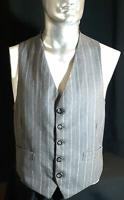 Wool front grey pinstriped waistcoat, 1970's USA, size L