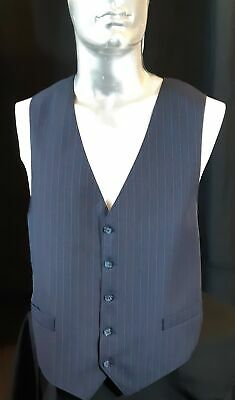 Navy pinstriped polyester waistcoat from USA, 1970's, size XL