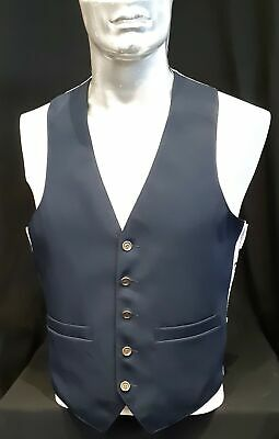 Navy gaberdine waistcoat with brass buttons, 1970's, USA size M