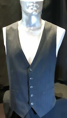 Charcoal pinstriped waistcoat, gaberdine,1970's, Made in Columbia, USA, size XL.