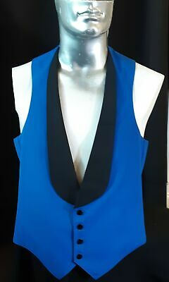 Prom waistcoat, electric blue and black tuxedo style, 1980's, USA by 'Southea...