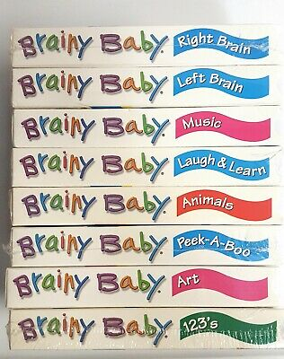 Brainy Baby VHS Tapes Lot of 8 NEW - Right/Left Brain~Music~Art~Laugh & Learn ++