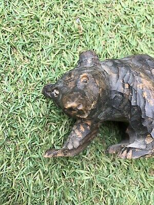 Vintage Antique Black Forest Wooden Hand Carved Bear Intricate Detail 1950 RARE