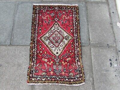 Vintage Worn Hand Made Traditional Rug Oriental Wool Red Pink Small Rug 92x57cm