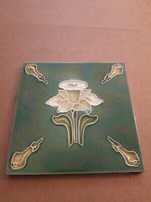 Tile Vintage Art Nouveau Tube Lined Flower