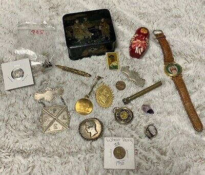 vintage & antique item junk drawer lot with coins 15+ items!