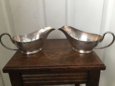 2 Vintage Silver Plated Mappin & Webb Sauce/gravy Boat 1955