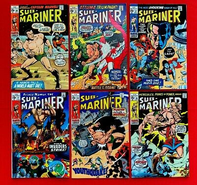 Silver Age Comic Lot. Sub-Mariner Mid-higher Grades. 6 Books 21-37