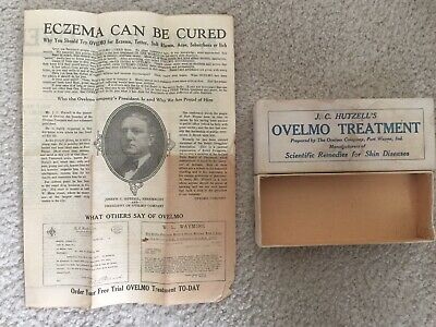 Vintage OVELMO TREATMENT Cardboard Box & advertisement For SKIN CONDITION 1900's