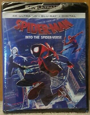 New Sealed Spider-man Into the Spider-Verse 4K + Blu Ray + Digital Code