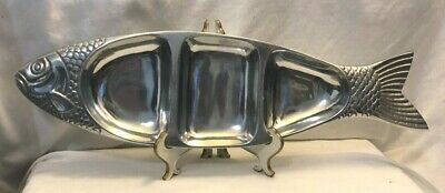 """Aluminum Serving Tray Dish 3 Sections Divided Fish 21"""" Vintage Metal"""