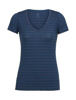 Icebreaker Tech Lite V Merino Shirt Damen, prussian blue striped, S - NEU !
