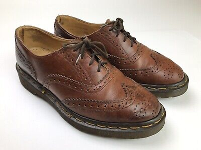 Dr Martens Mens Brown Leather Made In England Brogue Wingtip Shoes US Size 6
