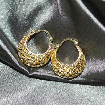 18K Gold Plated Earrings Hollow Round Stud Hoop Bohemia Clip-On Classic Flawless