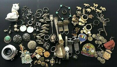 Vintage Junk Drawer Lot - Rings, Watches, Earrings, Service Pins, Cuff Links