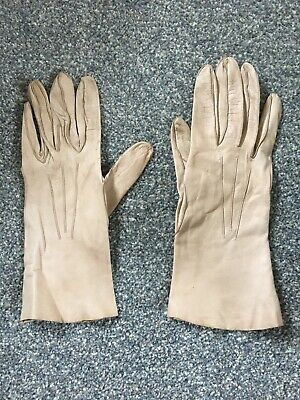 Millore Ladies Beige Leather Gloves Size 6 1/2