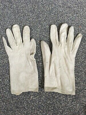 Vintage Pair Leather Gloves Size 6 3/4  in White Washable
