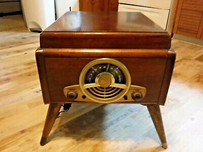 ANTIQUE Zenith CobraMatic #6R886 Wood Case Radio + Phonograph Combo w Stand