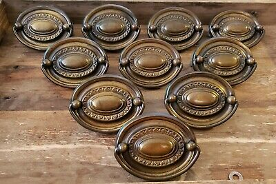 "Set 10 Federal Antique 3"" HEPPLEWHITE Brass Oval Drawer Pull Bail Handle Lot"