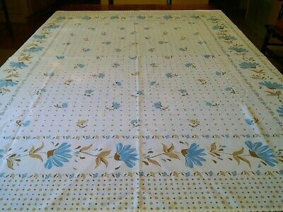 Vintage/Retro Blue Cornflower Floral & Dots Tablecloth-Made in Brazil-60.5 x 49