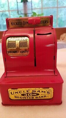 Vintage 50s Metal Tin Uncle Sam's 3 Coin Register Bank Western Stamping Corp