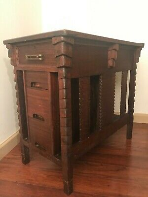 Arts and Crafts Mission Stickley Era Art Deco END TABLE RECORD SHELF BOOK CASE