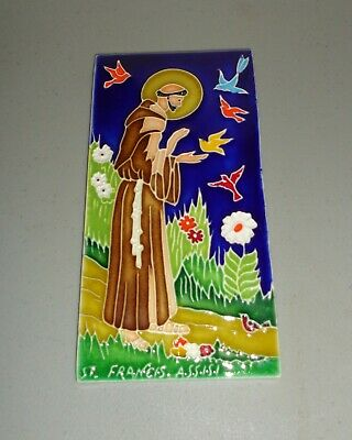 St. Francis Assisi Hand Painted Ceramic Wall Tile Italy Creazioni Luciano