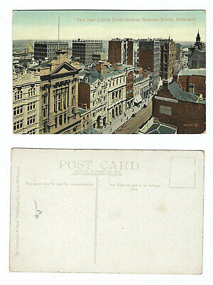 Vintage Postcard View from Collins Street showing Business Blocks, Melbourne