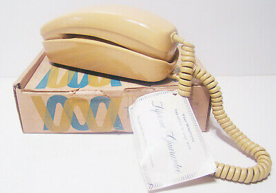 NOS Vintage 70s Rotary Trendline ITT Golden Desk Telephone Phone Trimline In Box