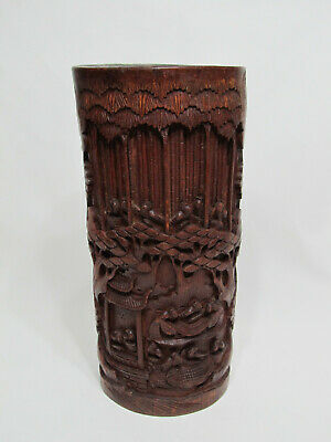 Fine Antique Large Chinese Carved Bamboo Vase with Figures