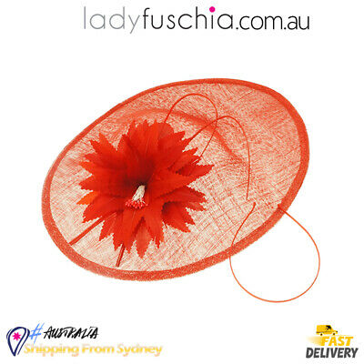 Red Women Fascinator Flower Wedding Evening Party Carnival Racing Race Vintage H