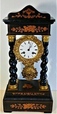 Fine French Samuel Marti Portico Mantle Clock circa 1850 Working.
