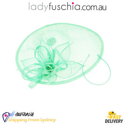 L Green Women Fascinator Feather Wedding Evening Party Carnival Racing Race Vint