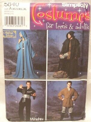 UNCUT 5840 Pattern COSTUMES STAR WARS CAPS Simplicity Halloween Teens & Adults