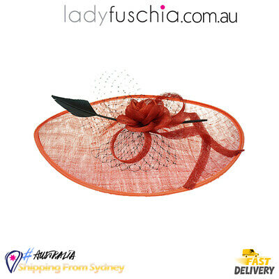 Red Women Feather Wedding Evening Party Carnival Racing Race Vintage Fascinator