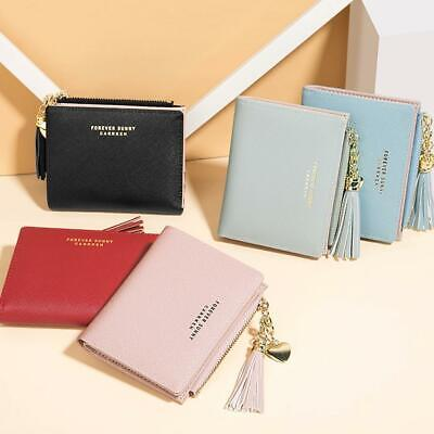 Women Solid lovely Wallet Coin Bag Leather Simple Bifold Small Handbag Purse NEW