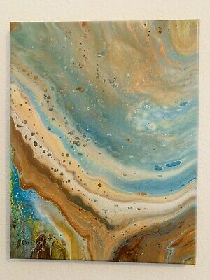 Abstract acrylic painting canvas fluid art 11x14 Titled INNER CORE Earth OOAK